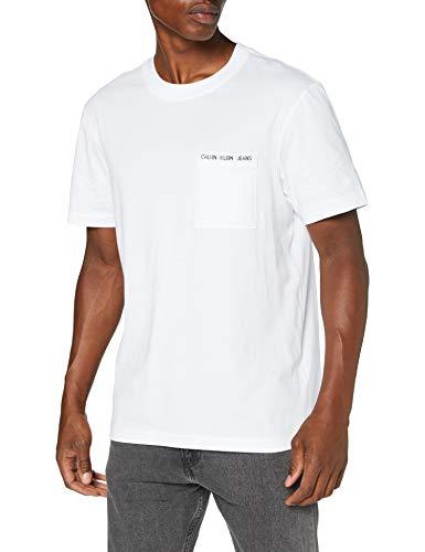 Calvin Klein Intarsia Pocket Tee Camicia, Bright White, M Uomo