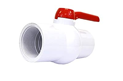 "CMI Inc 4 Inch PVC Ball Valve Inline Threaded, Schedule 40, Single-Handle Shut-Off Valve, White, EPDM Seal, Pipe Connector for Swimming Pool, Sewer Pipe, PVC Pipes and Fittings (4"") from CMI Inc"