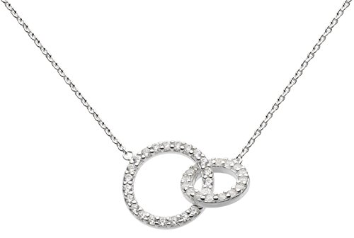 Dew Sterling Silver and Cubic Zirconia Double Link Necklace of Length 44.7cm