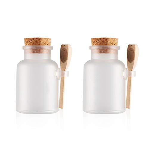 MZY1188 1pc Bouteilles de Bouteille vides de sel de Bath de Gommage 100ml, Pot cosmétique de Masque avec la cuillère en Bois empaquetant des Bouteilles