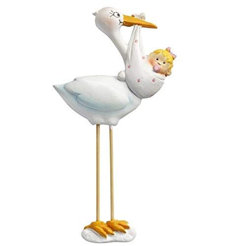 Dekofigur zur Geburt eines Mädchens: Storch, Polyresin, 95 mm