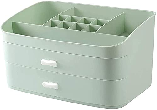 Recet Neceser para cosméticos, caja organizadora de maquillaje, caja de cosméticos con cajones, vitrina para cuarto de baño, 2 cajones y 5 compartimentos (verde)