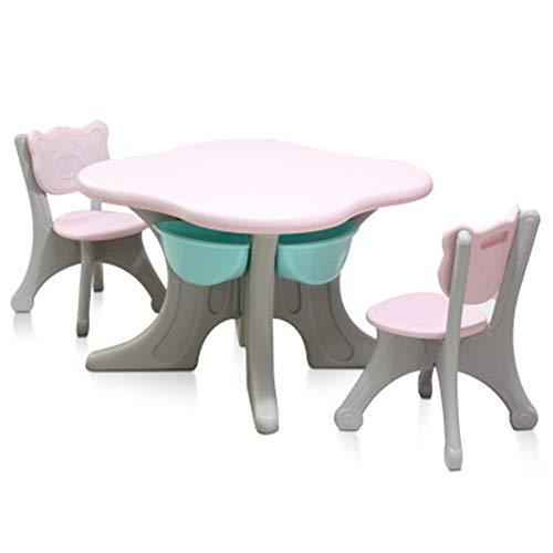 AOWU Mesa de Estudio para niños Infantil Escritorio Mesa Juego de sillas de bebé Aprendizaje Kinder Sillas una Mesa y Dos de plástico Juguetes para Estudiantes (Color : C1, Size : Medium)