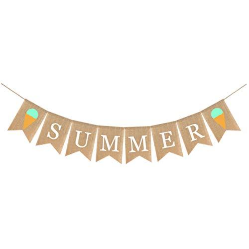 SOIMISS Summer Burlap Banner Summer Garland Bunting Swallowtail Pull Flag Garland for Hawaii Summer Birthday Wedding Party Decorations