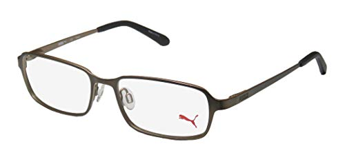 Puma 15412 Mens/Womens Spring Hinges Exclusive Popular Design Classic Optimal TIGHT-FIT Designed For Active Lifestyles Eyeglasses/Eyewear (52-16-140, Brown)