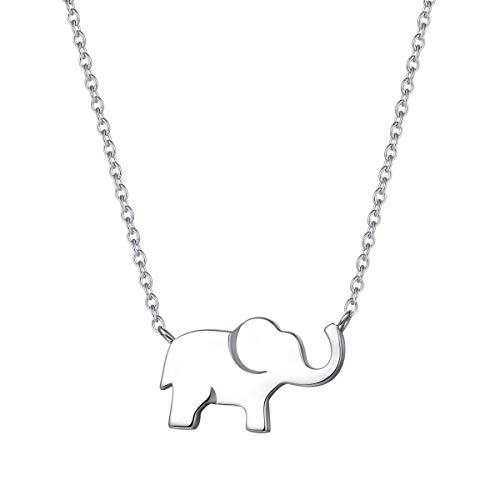Elefant Anhänger Kette Schmuck für Damen Mädchen Kinder 925 Sterling Silber Weiß Vergoldet - Verstellbar Armkette: 40 + 5 cm