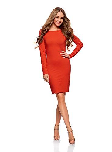 oodji Ultra Damen Enges Kleid Basic, Rot, DE 36 / EU 38 / S