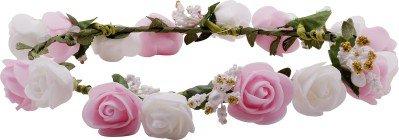 Sanjog White & Pink Flower Gracious Tiara/Crown Head Wrap For Women / Girls