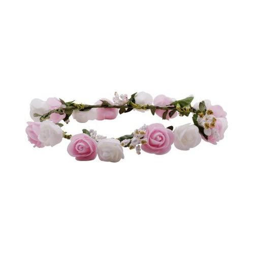 5c7c7da103 Sanjog White & Pink Flower Gracious Tiara/Crown Head Wrap For Women / Girls