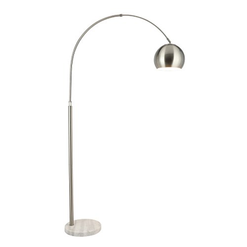 CO-Z Modern Arc Floor Lamp with 360° Rotatable Hanging Shade, Adjustable Nickel Standing Reading Light with Marble Base, Contemporary Arch Metal Pole Task Lamp for Living Room Couch Sofa, 73 Inch