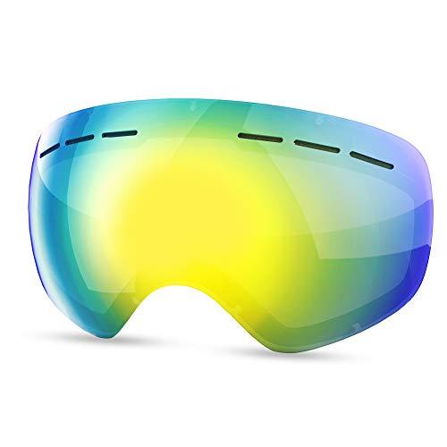 HAUEA Skibrille für Damen und Herren Skibrille für Brillenträger verspiegelt Skibrille UV400 Schutz und Anti-Fog Doppellinse (Blau)