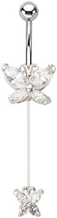 Clear cz double Butterfly Illusion dangle Belly button navel Ring piercing bar body jewelry 14g