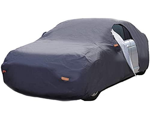 Lupex Shop CAF_XS Autoabdeckung mit seitlichem Reißverschluss und 6 reflektierenden Laschen – 250 g wasserdicht mit Doppelnaht, XS, grau