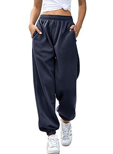 Yidarton Women's High Waisted Sweatpants Joggers Pants Drawstring Yoga Workout Lounge Pants with Pockets (Medium, Z-Thick Navy)