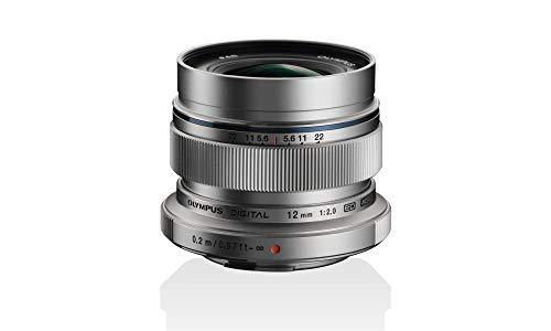 Objetivo Olympus M.Zuiko Digital ED 12 mm F2.0, Longitud Focal Fija rápida, Apto para Todas Las cámaras MFT (Modelos Olympus OM-D & Pen, Serie G de Panasonic), Plata