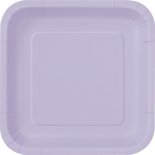 Unique Industries Lavender 31366/U Square Paper Plates, 14ct, 9' x 9'