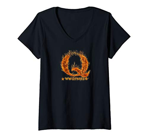 Damen QAnon Flames WWG1WGA Q Anon Great Awakening MAGA Fire Gift T-Shirt mit V-Ausschnitt