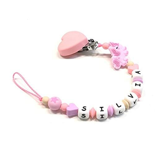 Baby J Art Attache-sucette en silicone personnalisable avec nom, crochet/adaptateur tétine pour maman Fabriqué en Italie.