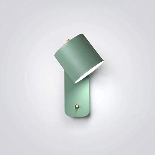 LIUYULONG Lámpara de pared moderna de metal giratorio ángulo de pared tipo interior instalación dormitorio salón pasillo estudio mesilla lámpara de lectura (color: verde)
