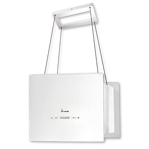 KKT KOLBE Design-Dunstabzugshaube/Inselhaube / 40cm / Edelstahl/weißes Glas/Extra-leise / 4 Stufen/LED-Beleuchtung/TouchSelect Sensortasten/Seilbefestigung / BOX400W