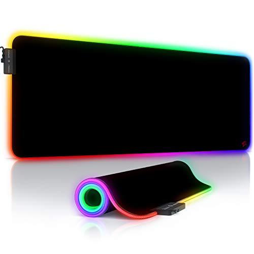 TITANWOLF - RGB Tappetino per Mouse da Gioco XXL - Mouse Pad Gaming - 800x300mm - 11 LED Colori e Effetti di Luce - Precisione e velocità - Lavabile - per Computer PC e Laptop - Icon Red Lightning
