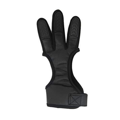 BESPORTBLE Pestaña de 3 Dedos para Arco y Flecha recurvo Caza Arco Mediterráneo Tres Dedos Equipo de protección Tamaño XL (Negro)