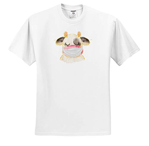 3dRose AMansMall Coronavirus Pandemic - Brown Cow Wearing Mask Watercolor Art, 3DRAMM - Adult T-Shirt Medium (ts_342305_2)