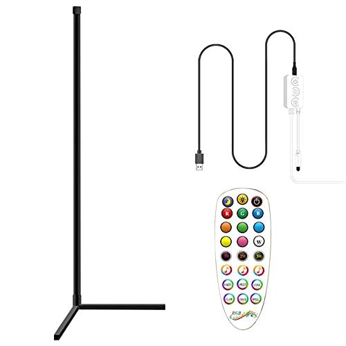 Eternitry Lámpara de pie LED, luz de ambiente cambiante de color regulable 6 tipos de modos dinámicos, control remoto cambio de color hogar cálido y suave iluminación