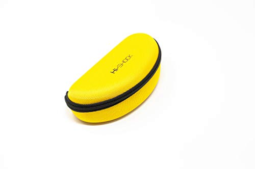 Hi-SHOCK Hi-Case Hardcase - Brillenetui, Hartschale, Brillentasche, Brillenbox, Hardcover Brillen, Sportbrillen, Sonnenbrillen | Farbe: gelb | Reißverschluss | wasserabweisend