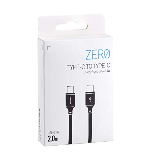MOMAX Zero Type-C to Type-C 60W Fast Charging Charge/Sync Cable (2M)(6.5 FT) USB Type C Charger Cord Compatible with Samsung Galaxy Note Ultra Note MacBook Air/Pro iPad Pro iPad Air 2020, DC17D