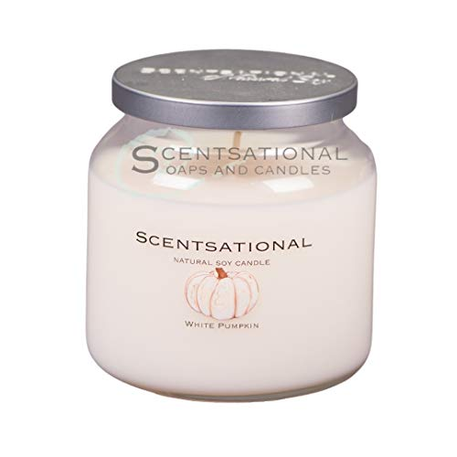 Scentsational Candles   White Pumpkin Jar   Luxury Scented Soy Jar Candle   Hand Poured in The USA   Highly Scented & Long Lasting   19 Oz.