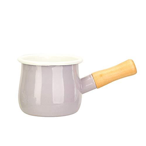 SLHEQING Emaille Milchtopf Antihaft Milchpfanne mit Holzgriff Mini Stieltopf mit Ausguss 550ml (Lila)