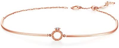 Chow Tai Fook So-in-love Collection Natural Diamond and 18K Rose Gold Baby Ring Bangle Bracelet