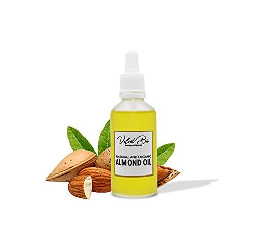 Aceite de almendras dulces orgánico para el cabello, la piel | Aceite corporal portador natural, prensado en frío y sin refinar para piel seca, masajes y rostro | Aceite de almendras orgánico (50ml)