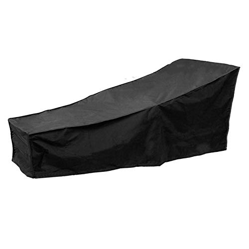 Baiyin Cubierta De Tumbona, Exterior Silla De Salón Impermeable Cubierta Protectora Sillón Reclinable Plegable Cubierta De Almacenamiento De Lluvia para Patio Patio De Jardín, Negro (210x75x40-80cm)
