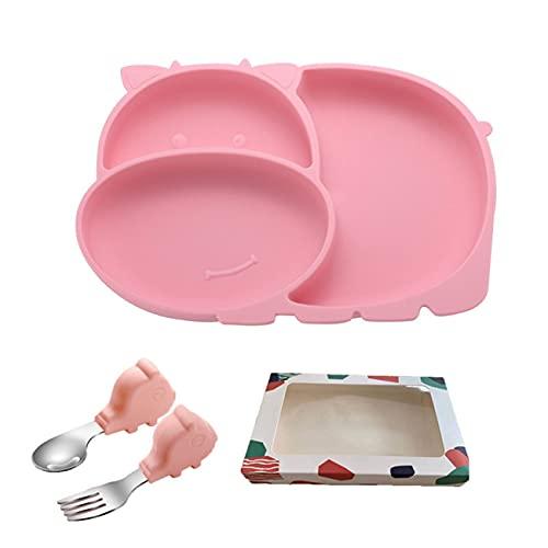 Gernian Plato de Cena de Silicona para NiiOs Entrenamiento de AlimentacióN para BebéS TazóN de Comida Complementario Juego de TazóN y Cuchara de Silicona B