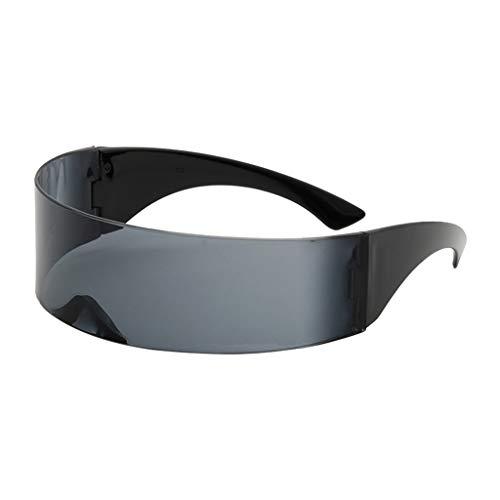 kowaku Gafas de Sol Futuristas con Espejo, Lente Estrecha, Visera, Visera, Disfraz, Gafas de Vestir - Gris