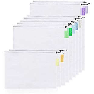 Customer reviews purifyou Premium Reusable Mesh / Produce Bags, Set of 9, with Soft Pastel Color-Coded Tags, Two Large 12x17in, Five Medium 12x14in, and Two Small 12x8in