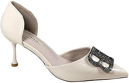AOOEL Chaussures sexy de Les dames de talons hauts de pompe sexy glissant sur le mariage de talon bas