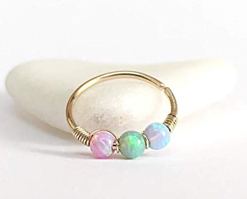 FloweRainboW Opal Septum Ring - Helix Ohrring - Conch Piercing, Nasenring Gold Silber 0.6-1mm