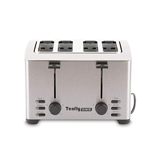 Mnjin Multifunktionaler Brotbackautomat 4-Scheiben-Toaster, Edelstahl-4-Scheiben-Toaster mit extra Breiten Schlitzen