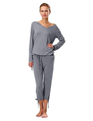 Damen Jersey Freizeitanzug/Schlafanzug, Grau, 44/46