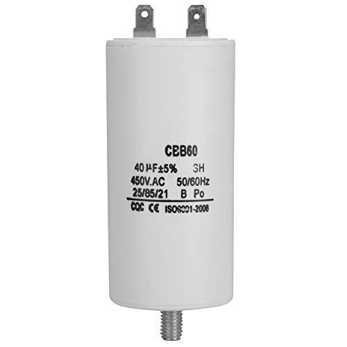 Condensador del Motor, 450V CBB60 Condensador de Funcionamiento del Motor 40uf 50/60Hz, Condensador de Bomba de Agua de 50/60 Hz para Lavadoras, Bombas, Refrigeradores