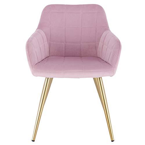 eSituro SDC0286-1 1x Küchenstuhl Esszimmerstuhl Besuchstuhl Konferenzstuhl Stuhl gepolstert aus Samt mit Metallbein und Rücklehne Rosa