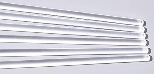 """6 Pcs 1/2"""" Diameter x 12 Inch Long Clear Acrylic Plexiglass Plastic Rod - .5"""" Dia - 12.7 mm x 304.8mm"""