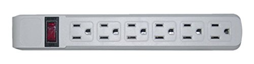 6 Outlet Surge Protector 15A 120V with Flat Rotating Plug 6ft Power cord 3 Prong 6 Outlet Power Strip with 6 Feet Power Cable and 360 Degree Rotating Plug, Gray CNE470745