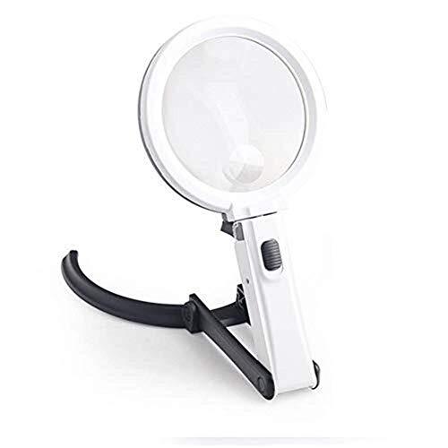 LYJ Vidrio de cristal plegable 2X 5X lente de HD de escritorio portátil de iluminación Lupa con 10 LED de la lámpara recargable, Compatible with la reparación del viejo hombre de lectura de identifica