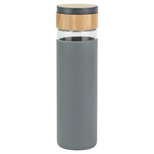 Evilandat Sport Trinkflasche Glasflaschen mit Bambus Deckel, 550ml Glas Wasserflasche mit Silikon Schutzhüllen, BPA-frei