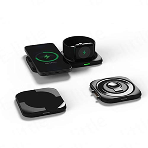 Cargador Inalámbrico 2 En 1, Cargador Inalámbrico Magnético QI De 15 W para iPhone 12 Pro MAX Mini Inducción Almohadilla De Carga Inalámbrica Rápida Magsafe Cargador Magnético Universal De Apple