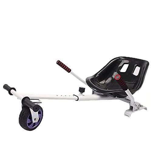 Go Kart Asiento Ajustable Silla Self Balancing para Derrapar Y Hacer Trucos para Todo Terreno Compatible con Todos Los Patinetes Eléctricos De 6.5, 8 Y 10 Pulgadas Regalo para Niños,Blanco